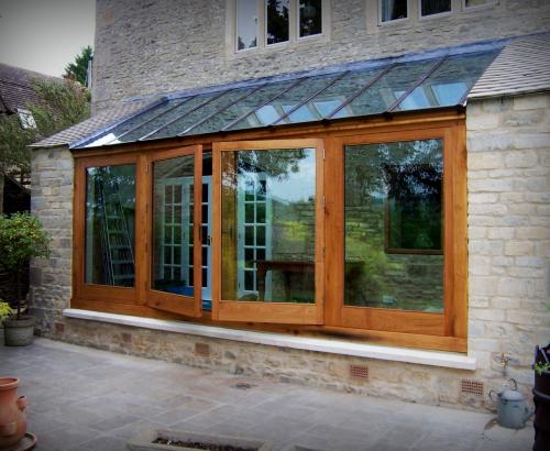 oak conservatory with wide doors